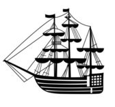 Graphic sailing-ship pen drawing silhouette — Stock Vector