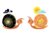 Night snail and day snail — Stock Vector