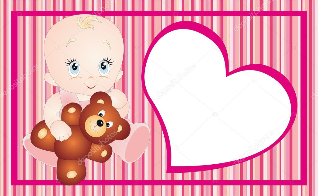 New born baby card design. To see similar, please VISIT MY PORTFOLIO  Stock Vector #4023389