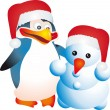 Penguin and snowman vector — Stockvektor