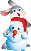 Rabbit and snowman vector — Stockvector