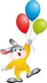 Conejo con globos — Vector de stock