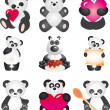 Panda. Vector collection — Stock Vector