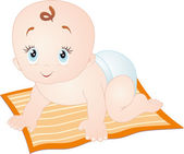 Baby crawling, isolated on white — Stock Vector