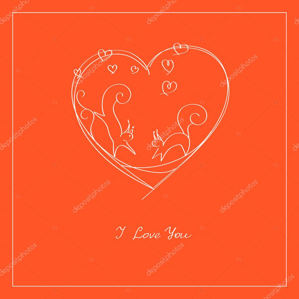 Two squirrels on carrot-red background.  Stock Vector #4728398