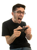 Excited man playing video games — Stock Photo