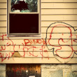 Run down house with graffiti — ストック写真