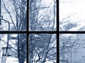Winter view from window — Stock Photo