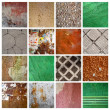 Set of 16 grunge backgrounds, mixed textures — Stock Photo