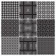 Stock Vector: 9 seamless monochrome patterns (vector)
