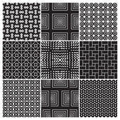 9 seamless monochrome patterns (vector) — Stock Vector