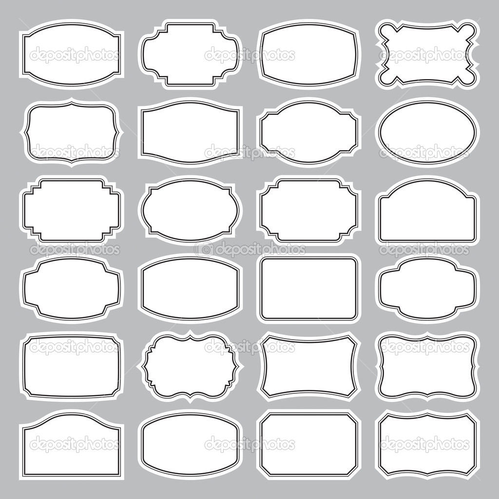Set of 24 blank vintage labels, scalable and editable vector illustration; — ベクター素材ストック #5314346