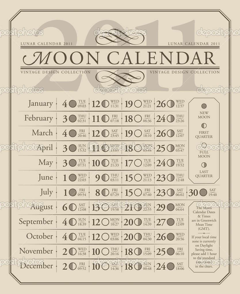 Lunar calendar for year 2011, time and dates in GMT; scalable and editable vector illustration; — Stock Vector #5314360