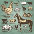 Farm animals vintage set (vector) — Imagen vectorial
