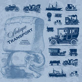 Antique transportation set (vector) — Stock Vector