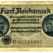 Stock Photo: Banknote five Reichsmark early forties of twentieth century.