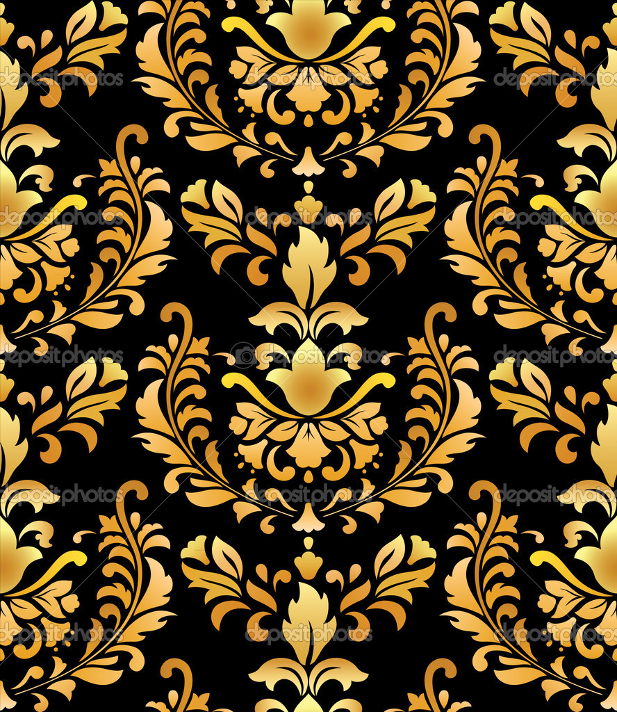 Золотой узор в черных обоях