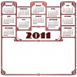 Calendar for Year 2011, week starts on Monday — Stock Vector