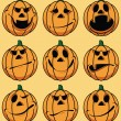 Set of 9 smiley pumpkin faces: in various facial expressions — Stock Vector #3999577