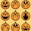 Stock Vector: Set of 9 smiley pumpkin faces: in various facial expressions
