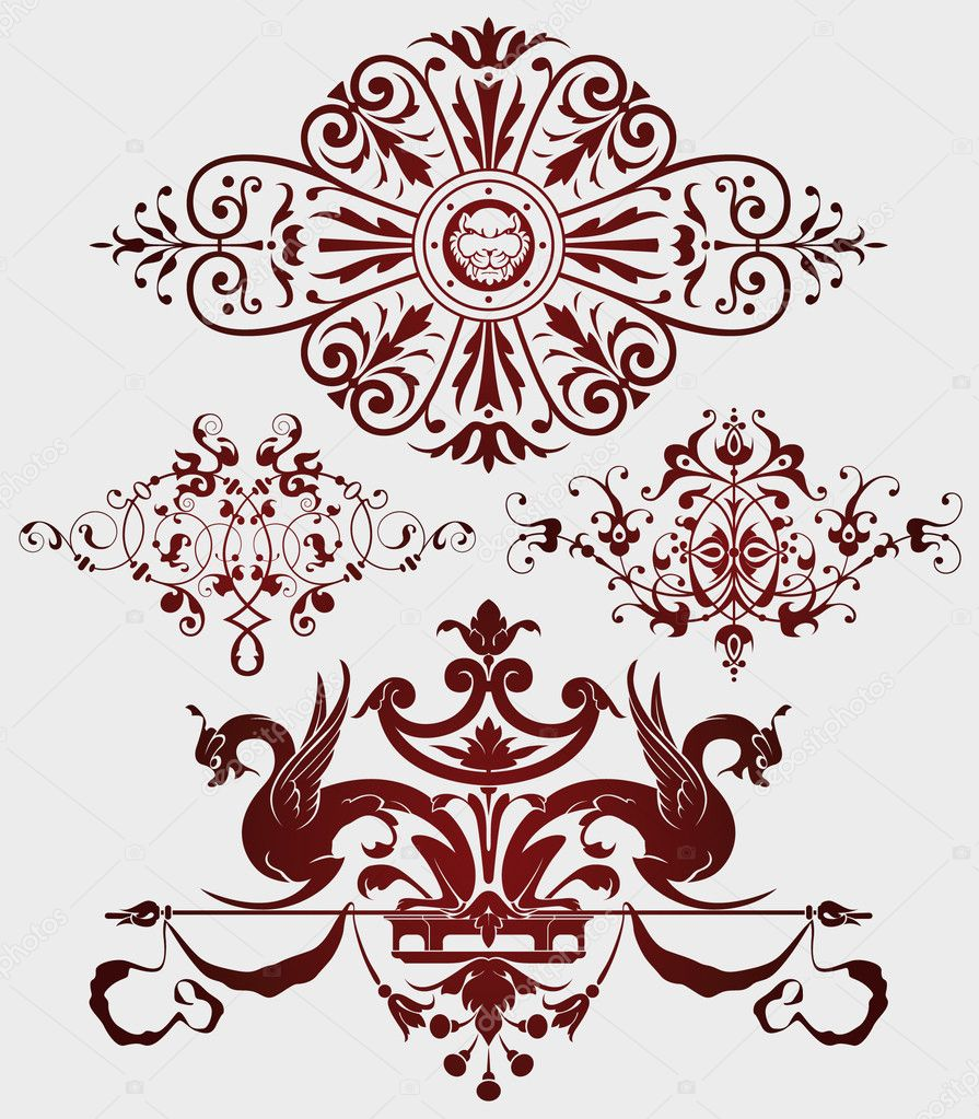 Vignettes in the ancient style for the text decoration and for A style text decoration