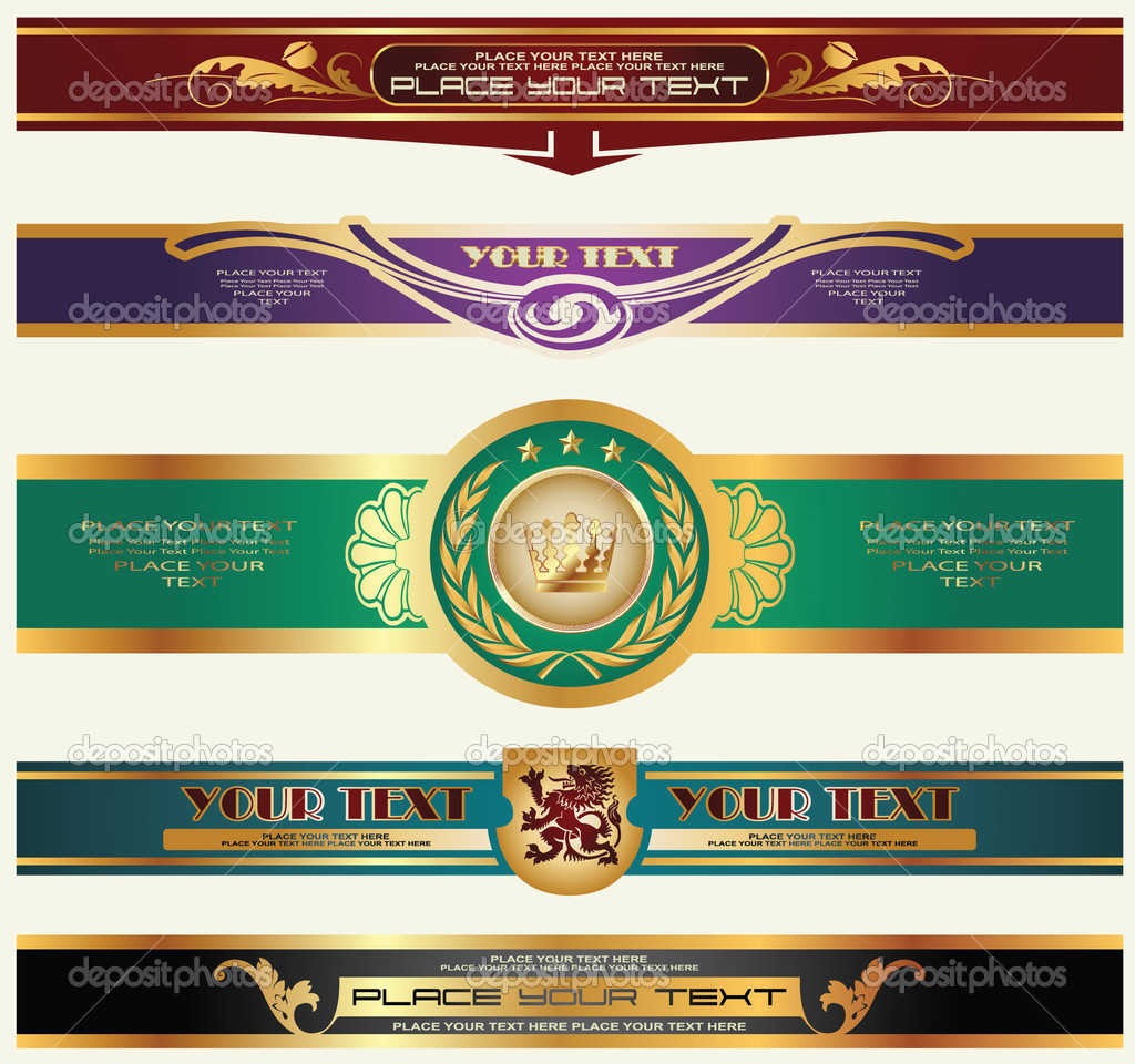 Gold-framed labels on different topics for decoration and design — Stock Vector #4062672