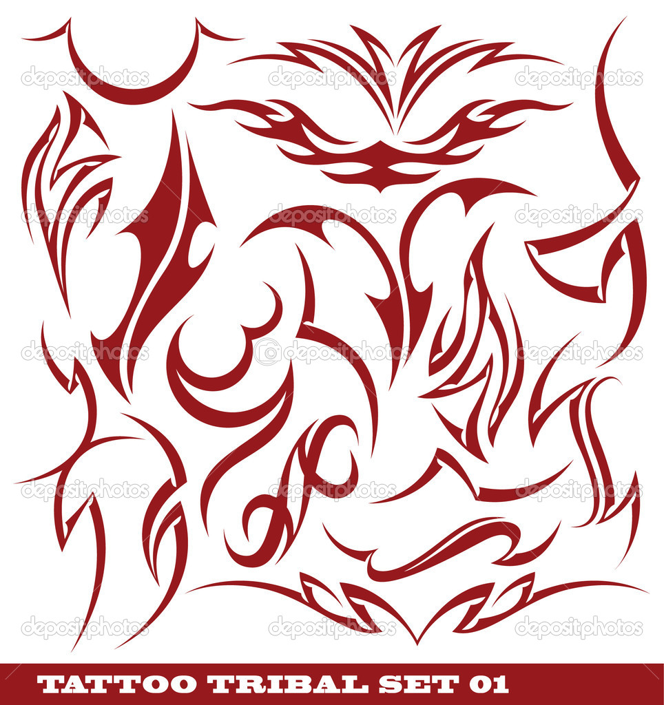 Set de tatuajes tribales - Ilustración de stock