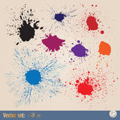 Vector set editable ink spills, stains and splashes — Stock Vector
