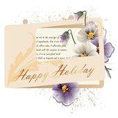Styl vintage kartkę z życzeniami z kwiatami na wakacje — Wektor stockowy