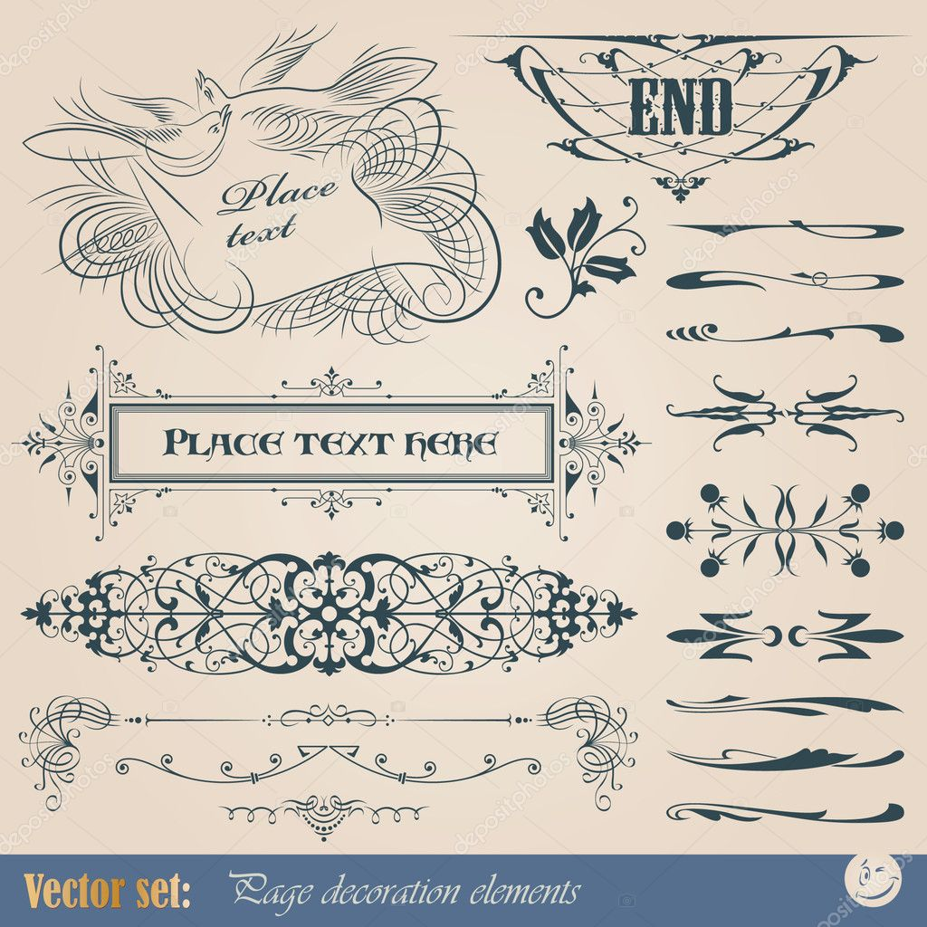 Vector set: calligraphic design elements and page decoration — Stock Vector #5224737