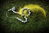 Beads and yellow feather — Stockfoto