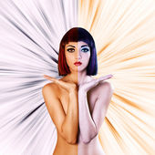 Colored naked woman — Stock Photo
