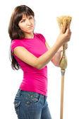 Woman housewife checking broom — Stock Photo