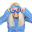 Funny woman in diving mask in sailor dress — Stock Photo #5361069