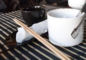 Towel chopsticks in the sushi bar.Close up at complete sushi set — Stock Photo