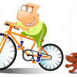 Royalty-Free Stock Photo: Funny man is riding on a bike.