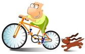 Funny man is riding on a bike. — Stock Photo