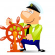 Ship captain at the helm - Stock Photo