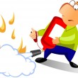 Man using fire extinguisher — Foto Stock