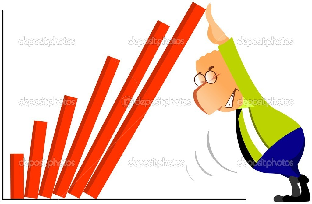 Cartoon illustration of businessman trying to put column of graph into place. — Stock Photo #4553269