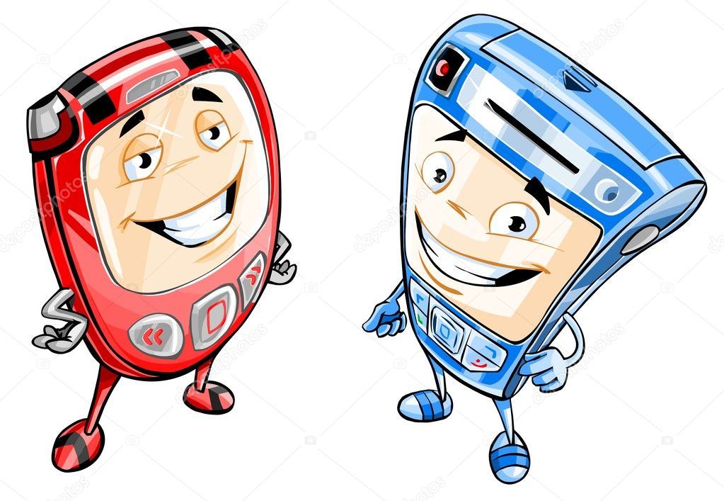 Cartoon illustration of two smiling cell phones. — Stock Photo #4553989