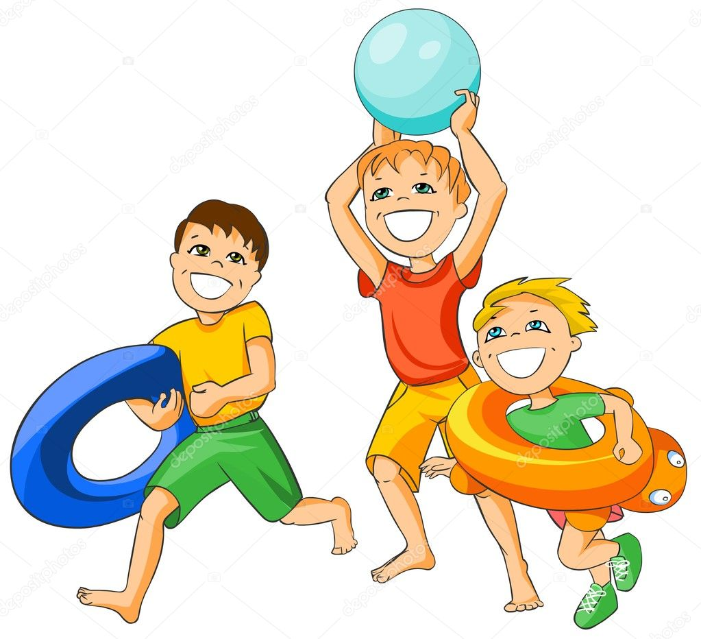 Illustration of three happy boys running on the beach. Isolated on white background. — Stock Photo #4668281