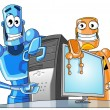 Two funny robots with a computer. — Stockfoto