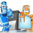 Stock Photo: Two funny robots with computer.