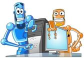 Two funny robots with a computer. — Stock Photo