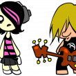 Emo girl and punk guy — Foto Stock