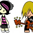 Emo girl and punk guy - Stock Photo