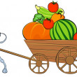 Royalty-Free Stock Photo: Mexican with a cart of vegetables.