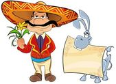 Mexican with a flower and a donkey. — Stock Photo