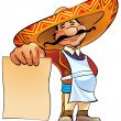 Mexican cook with menu. - Stock Photo